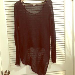 Helmut Lang Knit Black Asymmetrical Sweater Top